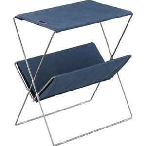 ミニテーブル/マガジンラック 【ネイビー】 幅50.5cm コットン スチール 『フォールディングサイドテーブル』