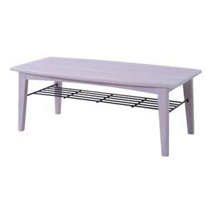 ローテーブル/センターテーブル 【ホワイト Lサイズ 幅110cm】 木製 棚板1枚付き 『ブリジット』 〔リビング ダイニング〕 - 拡大画像