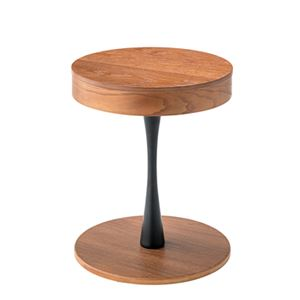 ミニテーブル/カフェテーブル 【幅40cm】 木製 円形天板 収納付き 『トレーサイドテーブル』 〔リビング ダイニング〕