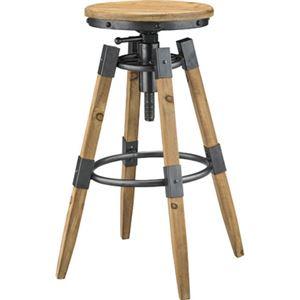 アンティーク調 カウンターチェア 【幅54cm】 木製 スチール 高さ調節可能 〔リビング ダイニング キッチン 店舗〕 - 拡大画像