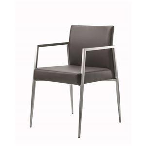 ダイニングチェア/食卓椅子 【ダークブラウン】 幅50×奥行57.5×高さ80cm ステンレス ソフトレザー 『コルテージュチェア』 - 拡大画像