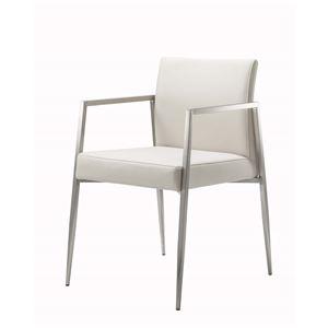 ダイニングチェア/食卓椅子 【アイボリー】 幅50×奥行57.5×高さ80cm ステンレス ソフトレザー 『コルテージュチェア』 - 拡大画像