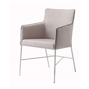 ダイニングチェア/食卓椅子 【グレー】 幅56×奥行59×高さ83.5cm スチール ファブリック 『アジャートチェア』 〔リビング〕 - 拡大画像