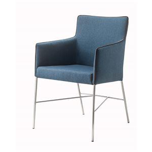 ダイニングチェア/食卓椅子 【ネイビー】 幅56×奥行59×高さ83.5cm スチール ファブリック 『アジャートチェア』 〔リビング〕 - 拡大画像