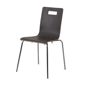 ダイニングチェア/食卓椅子 【4脚セット ダークブラウン】 幅49×奥行50×高さ81.5cm スチール 『ヴァーゴチェア』 〔リビング〕 - 拡大画像