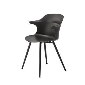 ダイニングチェア/食卓椅子 【ブラック】 幅56×奥行53.5×高さ80×座面高45cm スチール 組立品 〔リビング〕 - 拡大画像