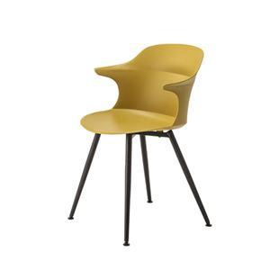 ダイニングチェア/食卓椅子 【マスタードイエロー】 幅56×奥行53.5×高さ80×座面高45cm スチール 組立品 - 拡大画像
