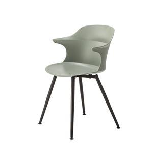 ダイニングチェア/食卓椅子 【ライトグレー】 幅56×奥行53.5×高さ80×座面高45cm スチール 組立品 〔リビング〕 - 拡大画像