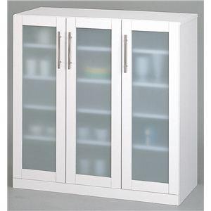 ガラス扉食器棚/キッチン収納 【幅90cm】 ミストガラス使用 『カトレア』 大容量 【組立】