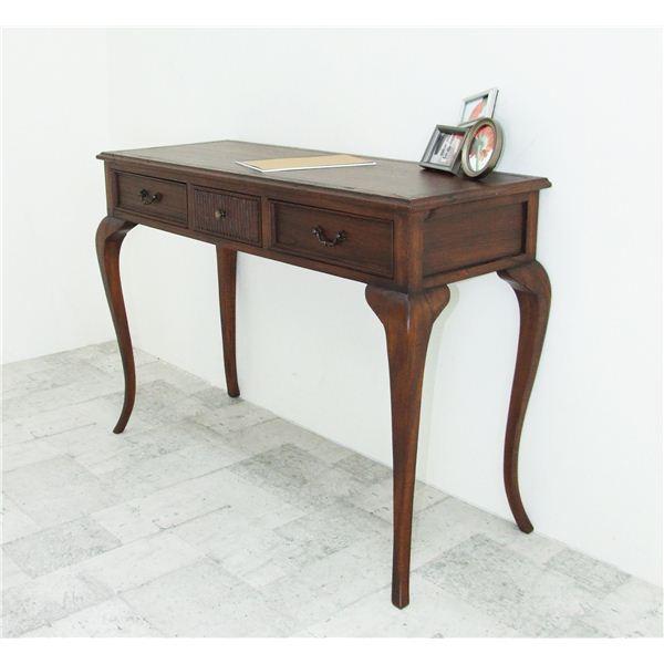猫足コンソールテーブル/飾り棚 【幅106.5cm】 木製 引き出し付き 『ウェール』 アンティーク調家具 【完成品】