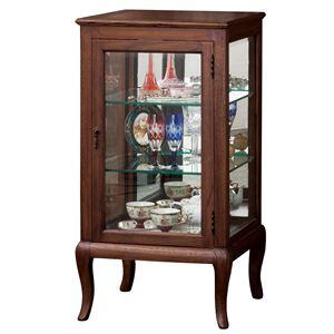 猫足コレクションケース/収納ケース 【幅50cm】 ガラス/木製 ガラス棚2枚付き 『ウェール』 アンティーク調家具 【完成品】 - 拡大画像