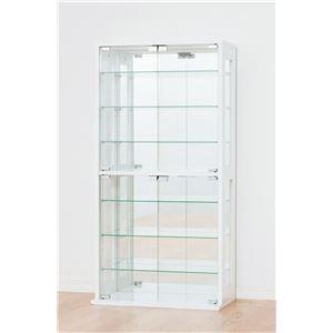 コレクションケース/収納ケース 【ホワイト】 ガラス製/背面鏡張り 幅60cm×奥行29cm 【組立】 - 拡大画像