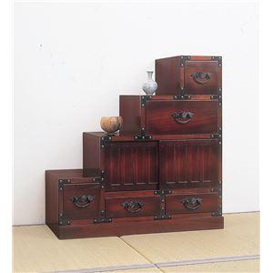 民芸調タンス/階段箪笥 【左下がり/幅67cm】 木製(桐) 【完成品】