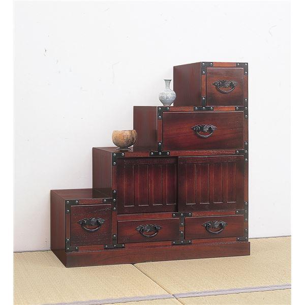 天然木使用。洋室にも和室にもなじむ「民芸調タンス/階段箪笥 【左下がり/幅67cm】 木製(桐) 【完成品】」