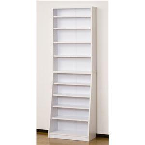 シンプル書棚/本棚 【幅60cm】 ホワイト 可動棚付き 【組立】