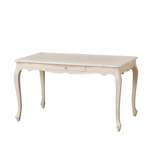 アンティーク調ダイニングテーブル 【幅135cm ホワイト】 引き出し付き 『コモ』 猫足 【組立】