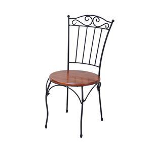 アンティーク調 ダイニングチェア/食卓椅子 【ブラック 幅42cm】 スチールフレーム 木製 脚付き 『アイアンシリーズ』 - 拡大画像