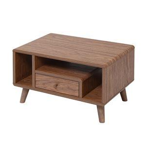 デザイン家具調 ローテーブル/センターテーブル 【ブラウン 幅60cm】 引き出し1杯 脚付き 『Pico series』 〔リビング 書斎〕 - 拡大画像