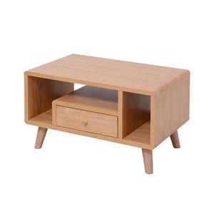 デザイン家具調 ローテーブル/センターテーブル 【ナチュラル 幅60cm】 引き出し1杯 脚付き 『Pico series』 〔リビング 書斎〕