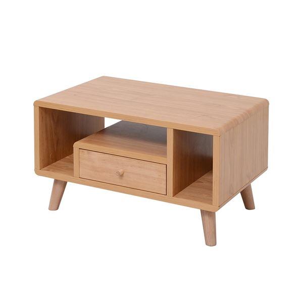 小物や雑貨もコンパクト収納!ちゃぶ台 コーヒーテーブルにも使える「デザイン家具調 ローテーブル/センターテーブル 【ナチュラル 幅60cm】 引き出し1杯 脚付き 『Pico series』 〔リビング 書斎〕」
