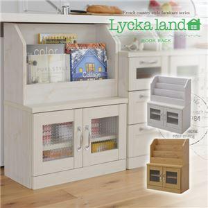 本棚/ブックラック 【ホワイト 幅60cm】 カウンター下対応 扉付き収納 可動棚付き 『Lycka land』 〔リビング ダイニング〕