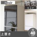 鏡面上置き棚/収納棚 【ダークブラウン 幅40cm】 可動棚 扉付き 『Alnair』 〔リビング ダイニング キッチン〕