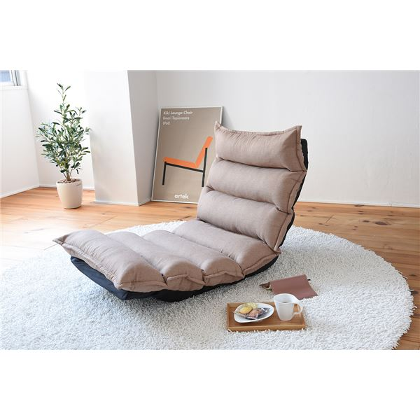 もこもこ リクライニングチェア/座椅子 【ベージュ】 コンパクト 撥水加工生地使用 日本製