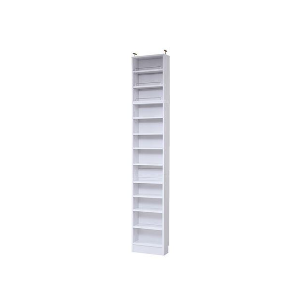 モダン 本棚/ブックシェルフ 【ホワイト 幅41.5cm】 薄型オープンタイプ 上置き棚 可動棚 ブックガード付き 『MEMORIA』