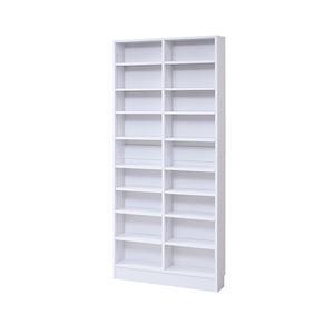 モダン 本棚/ブックシェルフ 【ホワイト 幅81cm】 薄型オープンタイプ 可動棚 ブックガード付き 『MEMORIA』