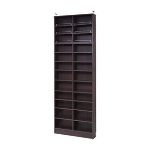 モダン 本棚/ブックシェルフ 【ダークブラウン 幅81cm 】 薄型オープンタイプ 上置き棚 可動棚 ブックガード付き 『MEMORIA』