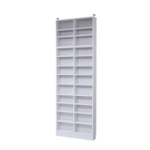 モダン 本棚/ブックシェルフ 【ホワイト 幅81cm】 薄型オープンタイプ 上置き棚 可動棚 ブックガード付き 『MEMORIA』