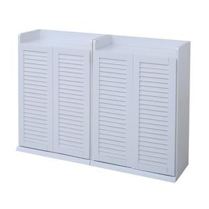 【2個組】 ルーバー扉シューズボックス/靴箱 【幅60cm ホワイト】 約30足収納 大容量