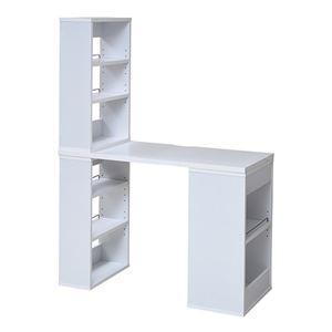 フレキシブル ユニットデスク/パソコンデスク 【ホワイト】 幅100cm 本棚3段×2+2段×1 可動棚 落下防止バー付き - 拡大画像