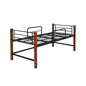 シングルベッド 【フレームのみ/ミドルタイプ ブラックブラウン】 幅102.5cm 下収納 サイドガード スチールフレーム付き - 拡大画像