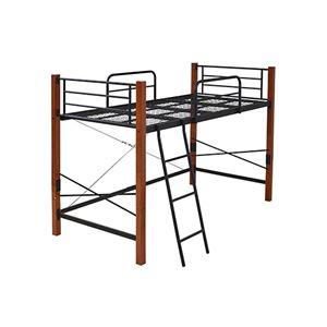 シングルベッド 【フレームのみ/ハイタイプ ブラックブラウン】 幅102.5cm はしご 下収納 サイドガード スチールフレーム付き - 拡大画像