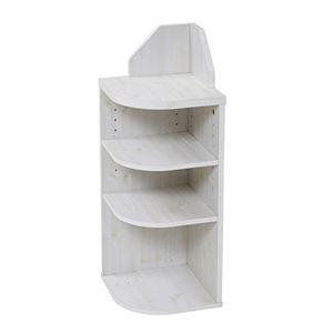収納ラック/収納棚 【ホワイト 幅29cm コーナータイプ】 カウンター下対応 可動棚 棚板3枚付 『Lycka land』 〔キッチン〕