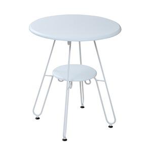 カフェテーブル/センターテーブル 【ホワイト 幅60cm】 2段タイプ スチールフレーム 『ロートアイアンシリーズ』 〔リビング〕 - 拡大画像