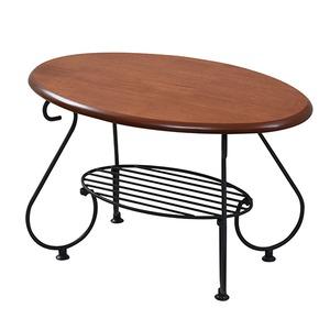 リビングテーブル/ローテーブル 【ブラック 幅65cm】 2段タイプ スチールフレーム 『ロートアイアンシリーズ』 〔リビング〕 - 拡大画像