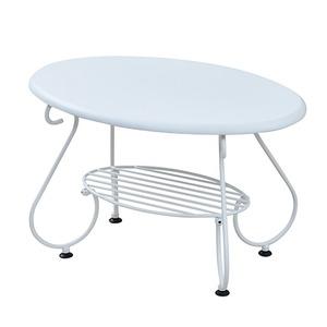 リビングテーブル/ローテーブル 【ホワイト 幅65cm】 2段タイプ スチールフレーム 『ロートアイアンシリーズ』 〔リビング〕 - 拡大画像