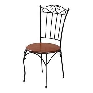レトロ調 ダイニングチェア/食卓椅子 【ブラック 幅60.5cm】 スチールフレーム 『ロートアイアンシリーズ』 〔リビング デスク〕 - 拡大画像