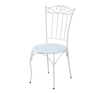 レトロ調 ダイニングチェア/食卓椅子 【ホワイト 幅60.5cm】 スチールフレーム 『ロートアイアンシリーズ』 〔リビング デスク〕 - 拡大画像