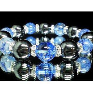 ☆ブルークラック水晶×ヘマタイト数珠(巾着袋付) - 拡大画像