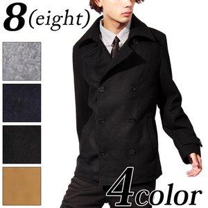 メンズ ジャケット ブルゾン メルトン Pコート グレイSサイズ - 拡大画像