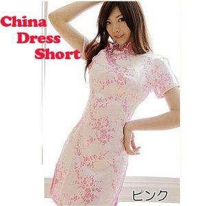 【チャイナドレス 梅柄刺繍 ショートタイプ】本格コスプレに!!/ピンクMサイズ - 拡大画像