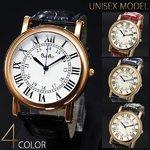 【ユニセックス仕様】クラシカル&ミディアムフェイス腕時計【保証書付き】/ブラック