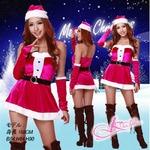 ベルト&グローブ付クリスマス衣装・サンタ コスプレ チェリーピンク