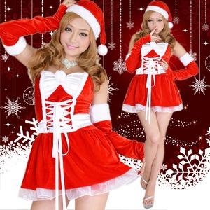 激カワ 0908 アームカバつきリボンふんわりサンタコスチューム 赤3点セット クリスマス - 拡大画像