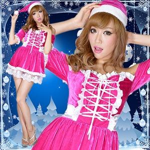 超かわいい 0907 リボン編み上げオフショルサンタコスチューム チェリーピンク 2点セット クリスマス - 拡大画像