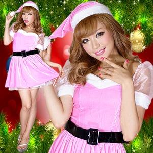 超かわいい 0905 お姫サンタコスチューム3点セットクリスマス ピンク - 拡大画像