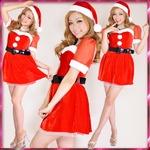 超かわいい 0905 お姫サンタコスチューム3点セットクリスマス 赤
